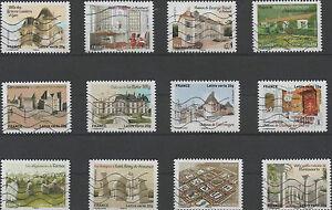 FRANCE-2013-PATRIMOINES-DE-FRANCE-SERIE-COMPLETE-DE-12-TIMBRES-AA-OBLITERES
