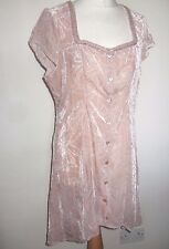 LADIES MAIS IL EST OU LE SOLEIL NUDE PINK VELVET PATTERN BUTTON UP DRESS 42 14