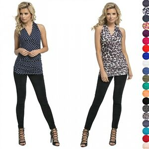 Glamour Empire Womens Halterneck Wrap Top with Ruching Sleeveless Close Fit 167