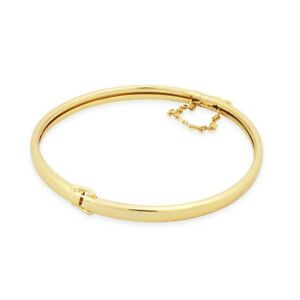 99a0546b94bc3 Details about New 9 Ct Gold Filled Open Close Classic Bangle with Safety  Chain 53 56 63 mm
