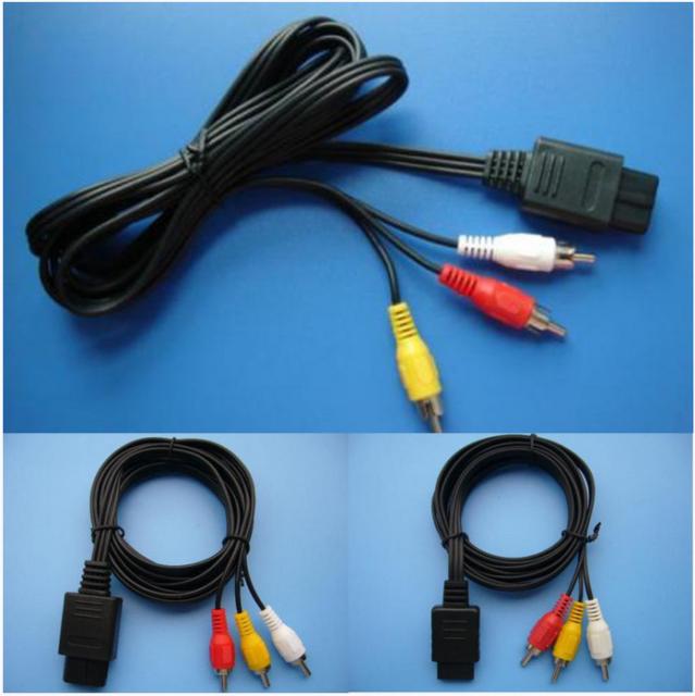 1.8m 6FT AV TV RCA Video Cord Cable For Game cube/SNES GameCube/Nintendo N64 64