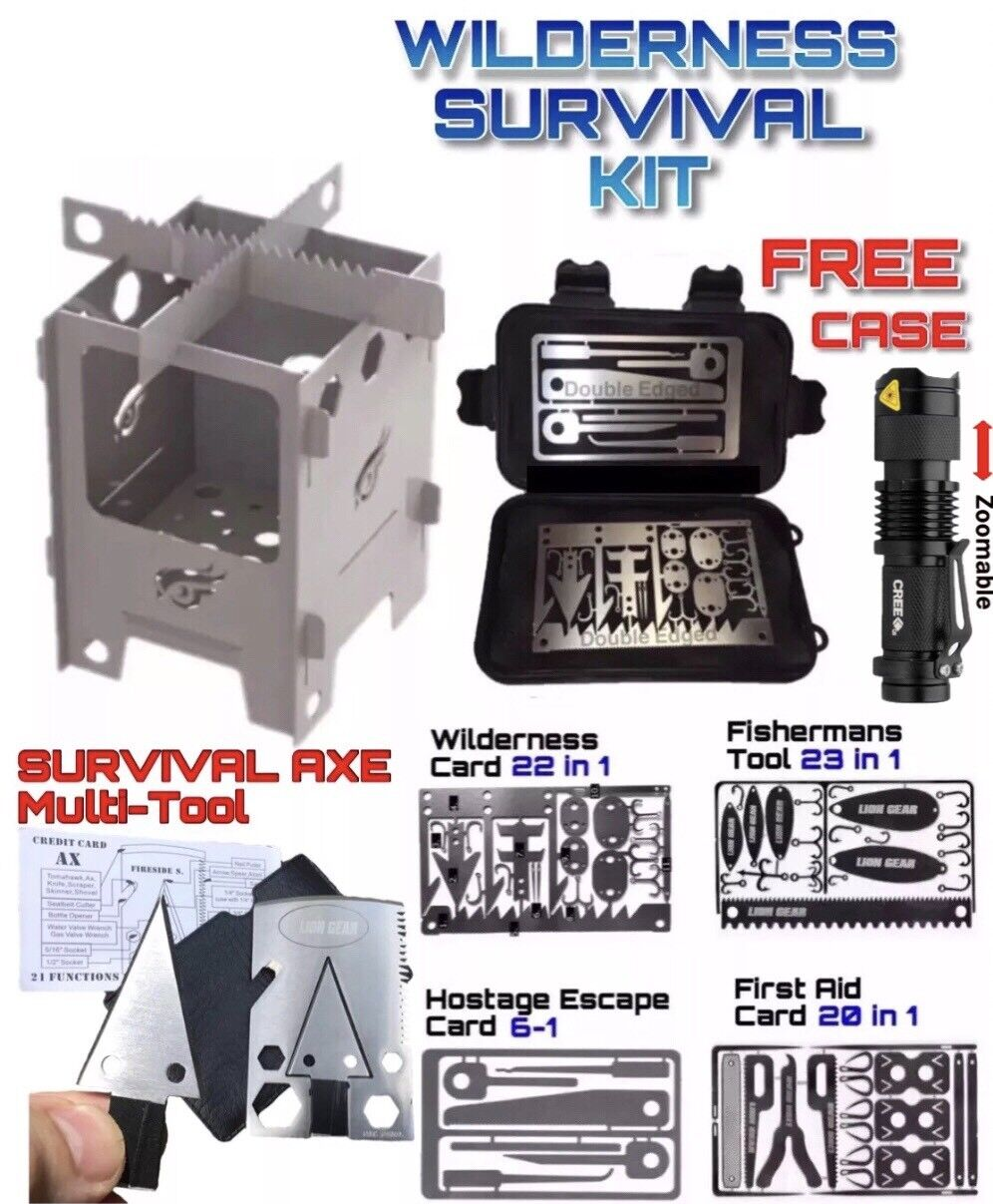 Survival Card Set Axe Hunting Fishing First Aid Escape Mini Stove Q5 Flashlight