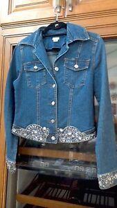 cache jean en superbe Msrp strass 199 bleu 4 veste S YnCvw
