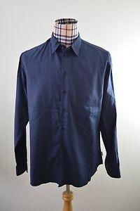 Armani-Collezioni-Mens-Blue-Woven-viscose-Blend-Casual-Shirt-XL