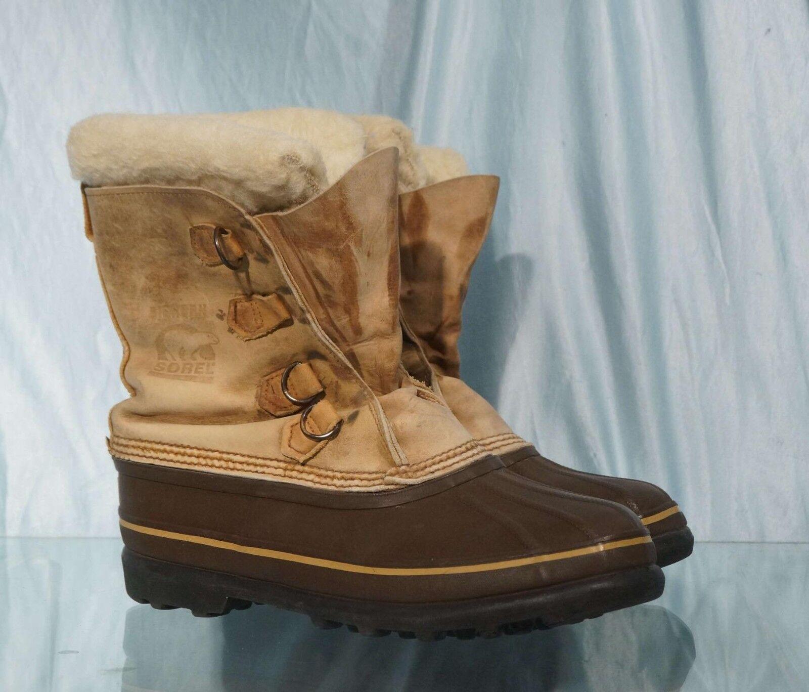 Vintage Light braun SOREL BIGHORN Snow Winter Stiefel Sz 9