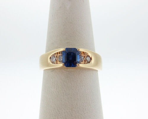 Fine Estate Natural bluee Sapphire Diamonds Solid 14k Yellow gold Ring FREE Sizin