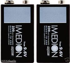 2 Pcs Powerex Imedion 9V 9.6V 230mAh NiMH Rechargeable Maha Batteries