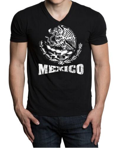 New Men/'s White Mexico Seal Black V-neck T Shirt Mexican Pride Latino Chicano