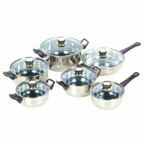 New No Box 12 Piece Cookware Set By Alpine Cuisine Stainless Steel