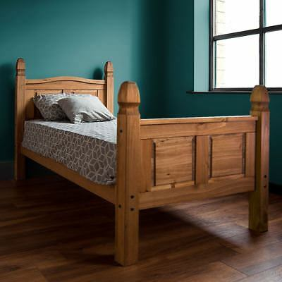 Corona Single Bed High Foot End 3 FT Solid Pine Wood Mexican Bedroom Furniture