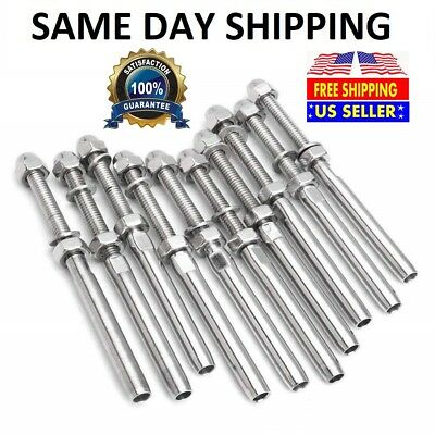 Muzata Handed Thread Swageless Tensioner Lag Screws Left /& Right for 1//8Cable Railing Kit,T316 Marine Grade Stainless Steel Stair Deck Post DIY Baluster Hardware 10Pairs CR59,Series CA1 CD1 CS1 CG1