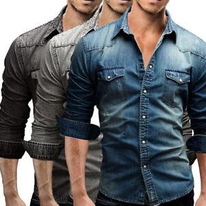 Herrenhemd-Denim-Slim-Jeanshemd-Hemd-Jeans-Shirt-Freizeit-Langarm-Freizeithemden