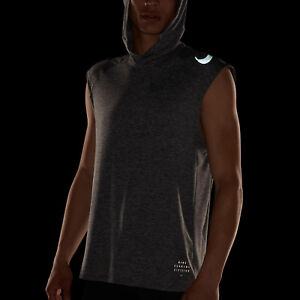 f4651c2d40091 Nike Run Division Element Men s Sleeveless Running Hoodie L Gray ...