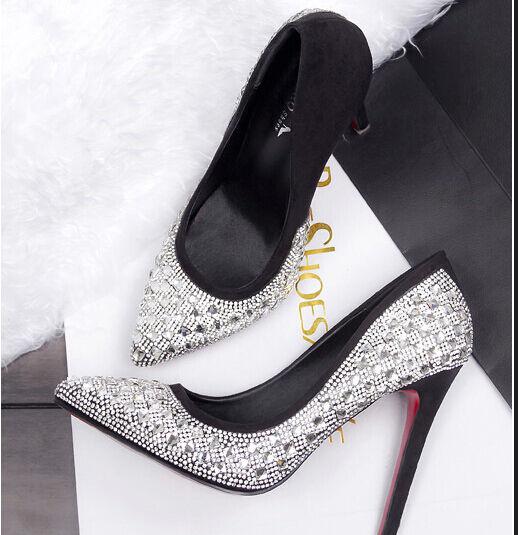 Décollte shoes decolte spillo 10 cm stiletto moda black strass brillantini 8672