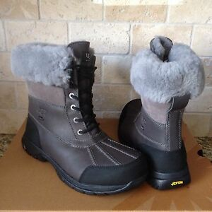 0cc944d742c Details about UGG Butte Metal Gray Waterproof Leather Sheepskin Snow Boots  Size US 18 Mens