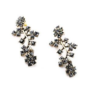 Image Is Loading Elegant Zara Grey Black Rhinestones Gold Drop Earrings