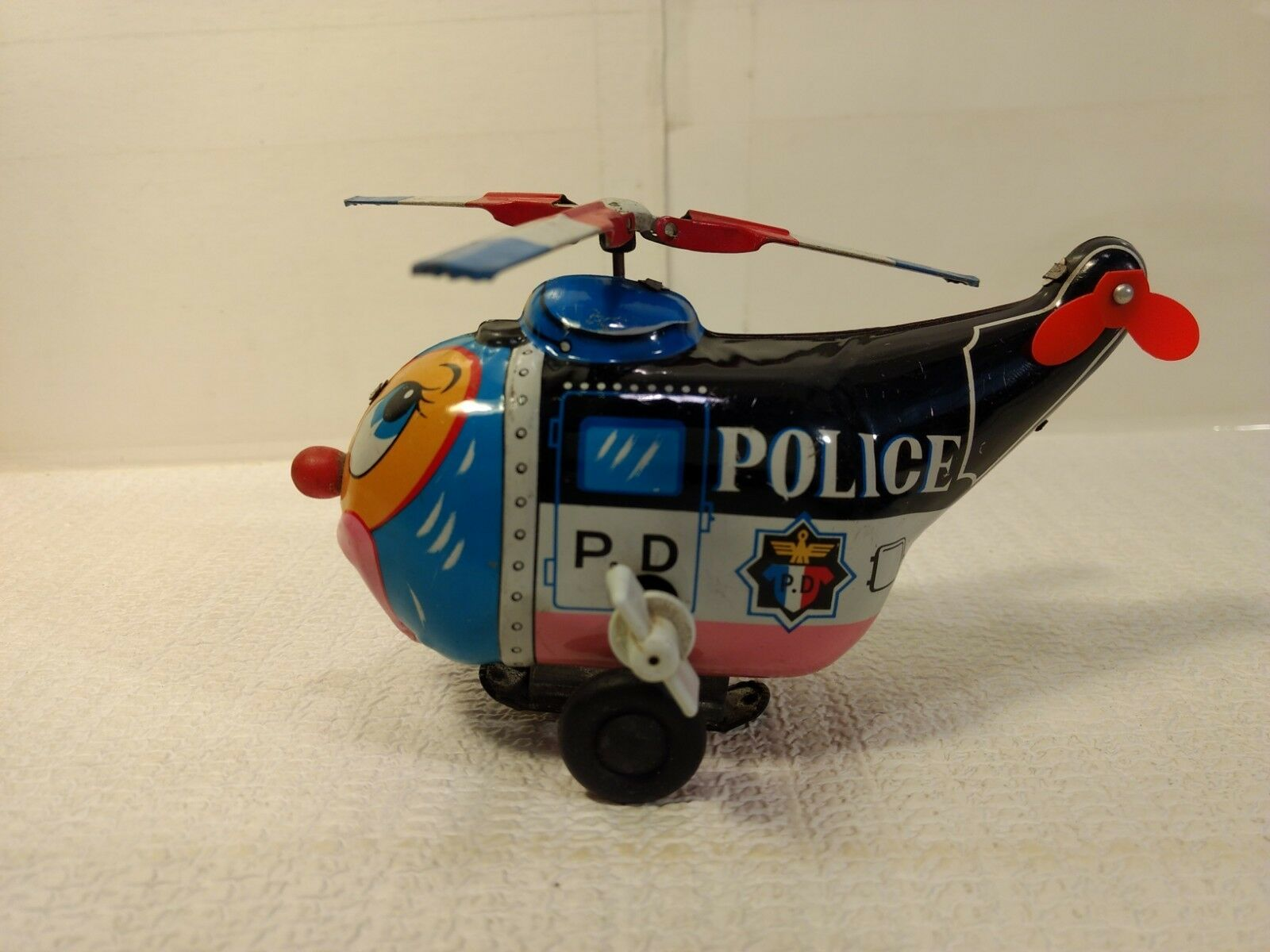 Vintage Mikuni TN Funny Face Police Helicopter Tin Wind Up Lithograph Toy t2322