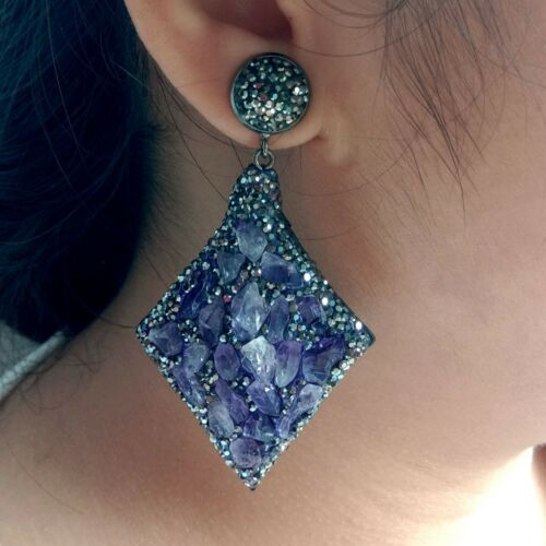 Natural Amethyst Rough Black Crystal Pave Boucles d/'oreille