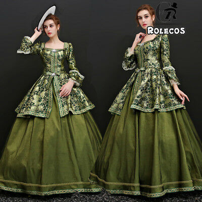 Women Halloween Party Medieval Court Queen Princess Long Dress Cosplay Costumes