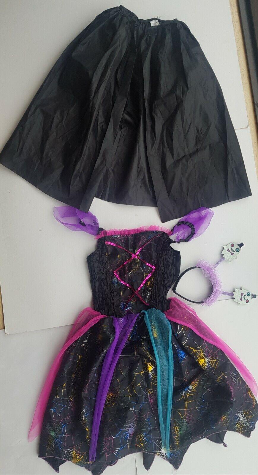 Girls age 11-12 Halloween Fancy Dress Witch Costume + ghostbeelie boppers + cape