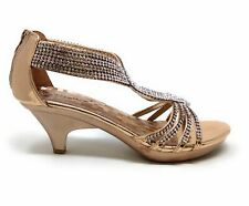 6fcf2922cc419 Delicacy Womens Angel-37 Strappy Rhinestone Dress Sandal Low Heel Shoes  Size 8.5