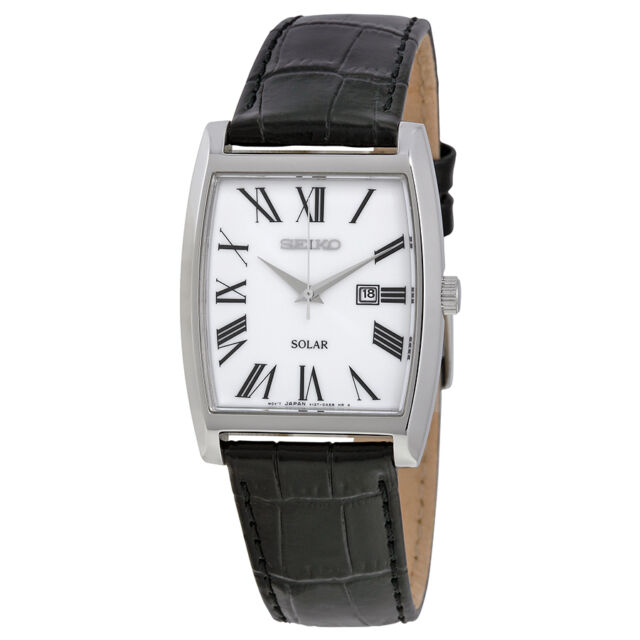 Seiko Solar White Dial Stainless Steel Black Leather Mens Watch SUT891