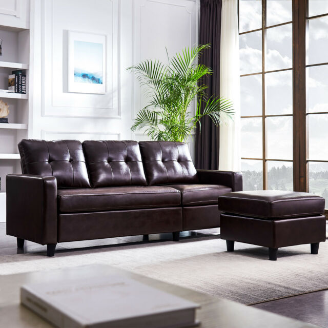Reversible Chaise Sofa Faux Leather