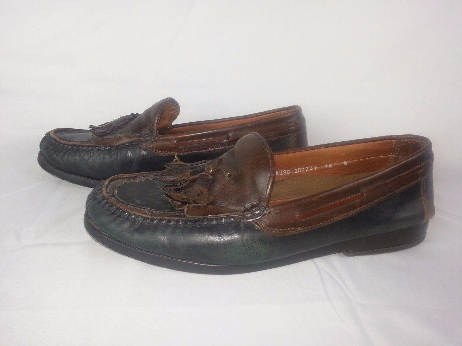 Johnston Murphy Men's shoes Sz 9 Two-tone Brown Leather Slip On Tassels