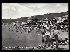 VARAZZE-SAVONA-CARTOLINA-SORRISI-AL-MARE-SALUTI-DAL-MARE-FG-VG-1952-VEZZOSO