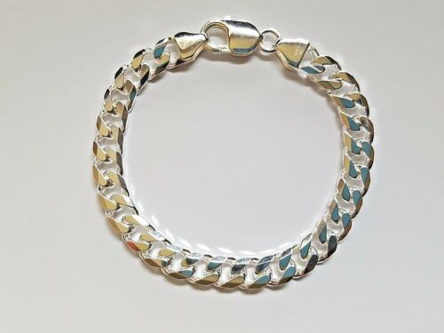 NEW Genuine Solid 925 Sterling Silver Bevelled Curb Diamond Cut Mens Bracelet