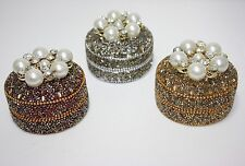 Pier 1 Shiny Pearls Mini Jewelry Boxes Set of 3 Beaded Sequins Silver & Gold NIB