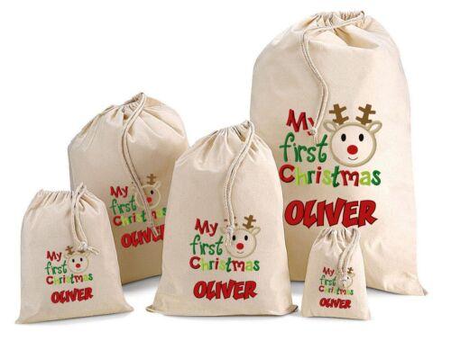 MY FIRST CHRISTMAS Personalised Christmas Cotton Gift Bag Santa Sack  All Sizes