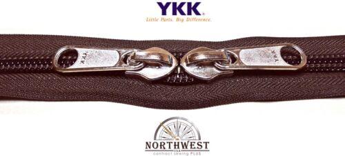 YKK Nylon Coil Zipper Tape # 10 Walnut 10 yards with 10 Nickle Zipper Sliders