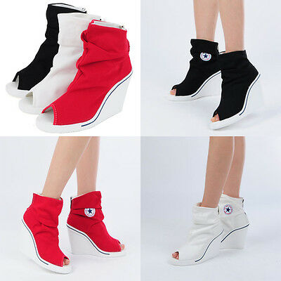 Wedges Trainers Heels Sneakers High Top Toe Open 777 Wrinkle Boots Shoes