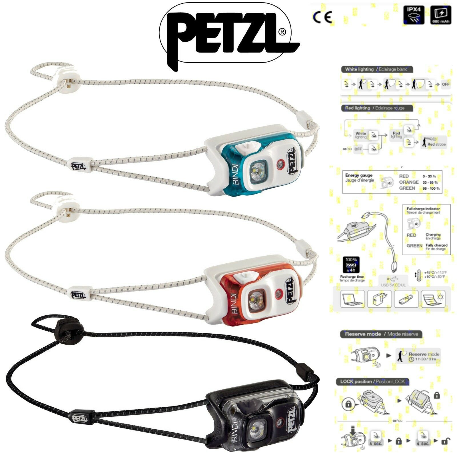 PETZL BINDI Lampada Frontale Ricaricabile USB Leggera 35gr da Running Torcia