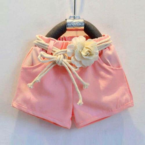 Toddler Kids Baby Girls Print Sleeveless T-Shirt+Shorts+Belt Outfits Clothes Set