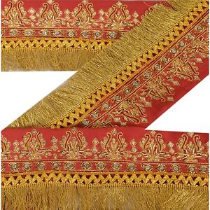 Sanskriti Vintage Dark Red Sari Border Hand Beaded Indian Craft Trim Ribbon Lace Embellishments & Finishes Trims