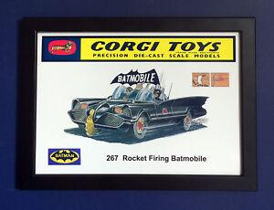Batimovil-Corgi-Toys-267-Batman-Vintage-1966-A4-tamano-poster-enmarcado-signo-de-tienda