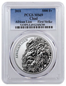 Expressive 2018 Republic Of Chad African Lion 1 Oz Silver Pcgs Ms69 Fs Sku51655 Without Return Other African Coins
