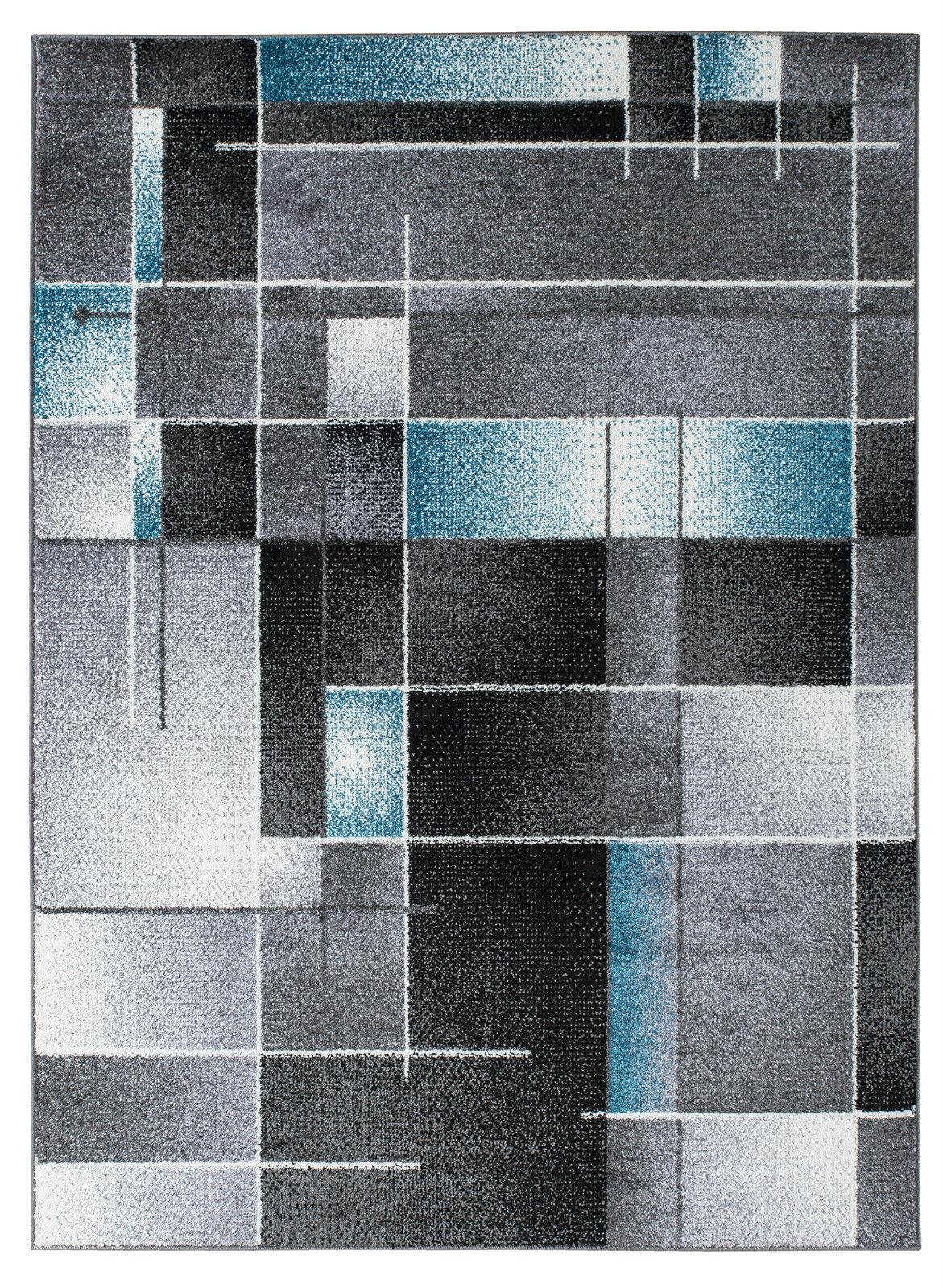 Teppich Teppich Teppich Kurzflor Hochwertig Bunt 5773-Schwarz Grau Türkisfaerbig 120 140 160 200 | Sonderangebot  cfd55d