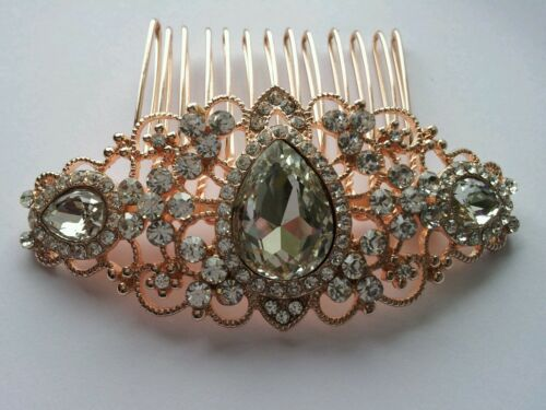 BN Bridal Wedding Crystal// Rhinestones//  Women rose gold Hair Clip Comb 192