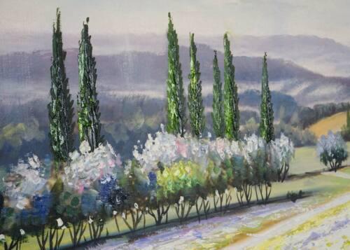 80x80cm 100/% handgemaltes Wandbild Gemälde XL Ölgemälde Blumenlandschaft