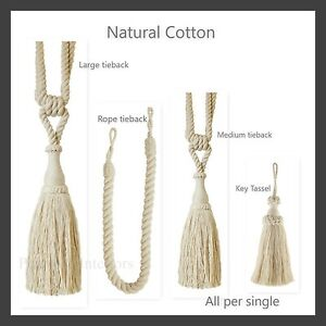 Image Is Loading 1 Natural Cotton Curtain Tieback Rope Key Tassel