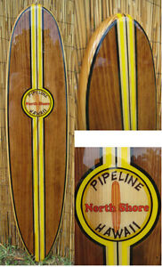 Image is loading Decorative-Wood-Surfboard-Wall-Art-Hawaiian-Coastal-Beach-