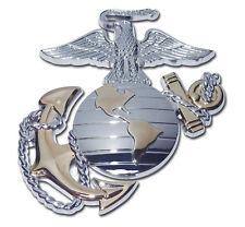 US Marine Corps Gold Metal Auto Emblem - Chrome Car Decal USMC United States