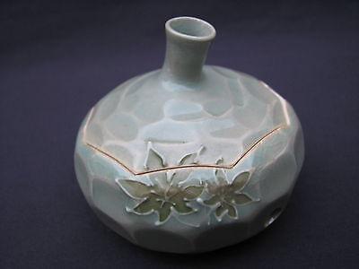 Signed Japanese Kutani Crackle Celadon Porcelain Maple Leaf Censer Incense Box