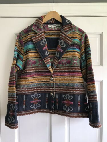 Striped Woven Cotton Cardigan With Pockets Tapestry Carpet Cardigan Knitted Indian Button Front Jacket Size M Beige Orange Knit Sweater