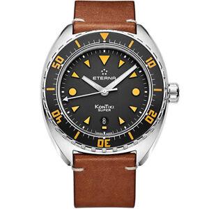 Eterna-1273-41-49-1363-Super-KonTiki-Automatik-Leder-Armband-Uhr-Herren-NEU