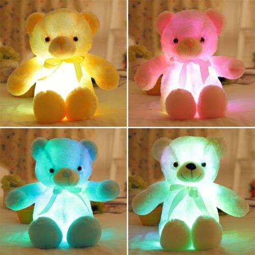 New White LED Light Plush Stuffed Teddy Bear Soft Doll Baby Kids Xmas Gift 30CM