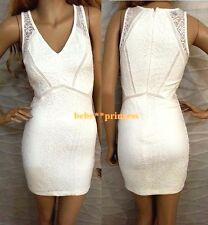 NWT bebe white overall lace side cutout v neck bodycon top dress L large party